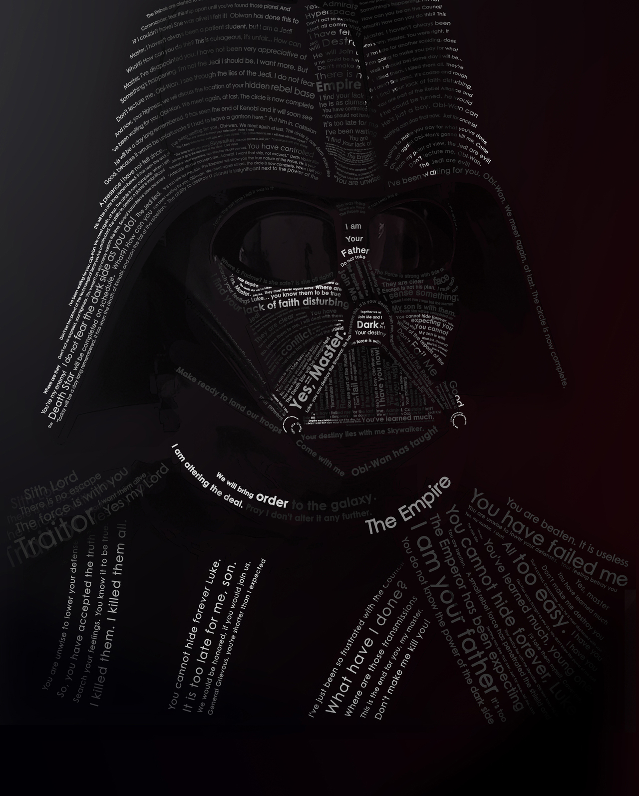 Darth vader typography orangeinks Typography portrait