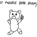 fastest possible drawing of bear holding bomb