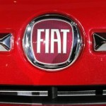 A Fiat logo is seen on the front of a Fiat 500 during the press days for the North American International Auto show in Detroit