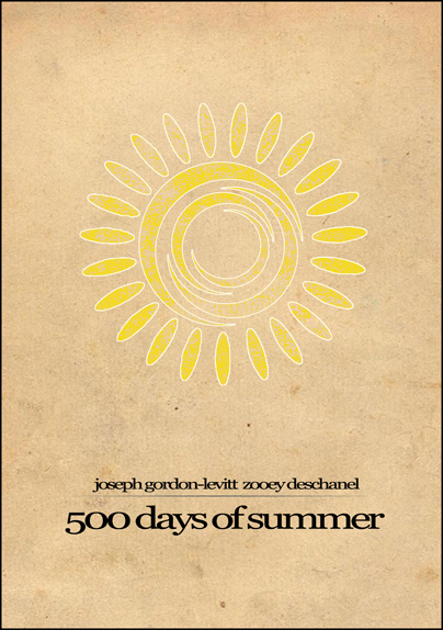 Minimalist parchment movie poster 500 days of summer for Architecture drawing 500 days of summer