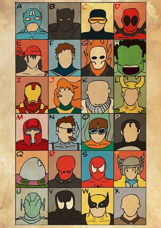 marvel characters alphabet